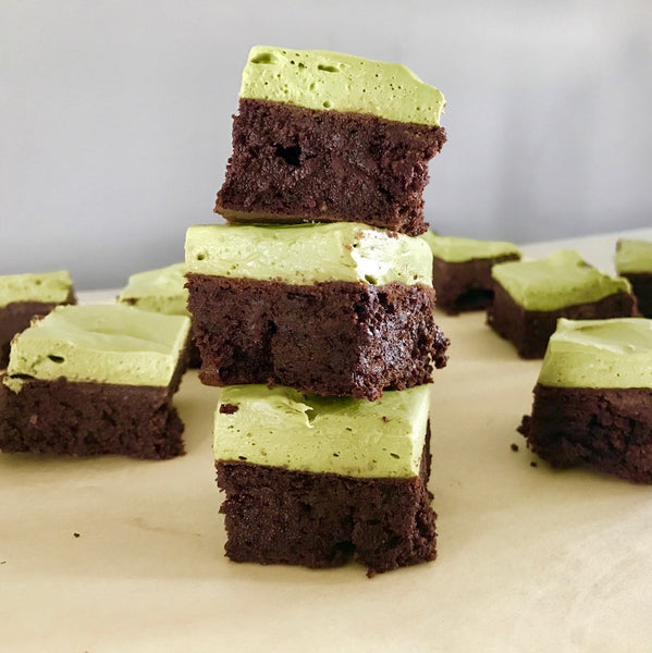 Paleo Fudge Brownies with Matcha Frosting