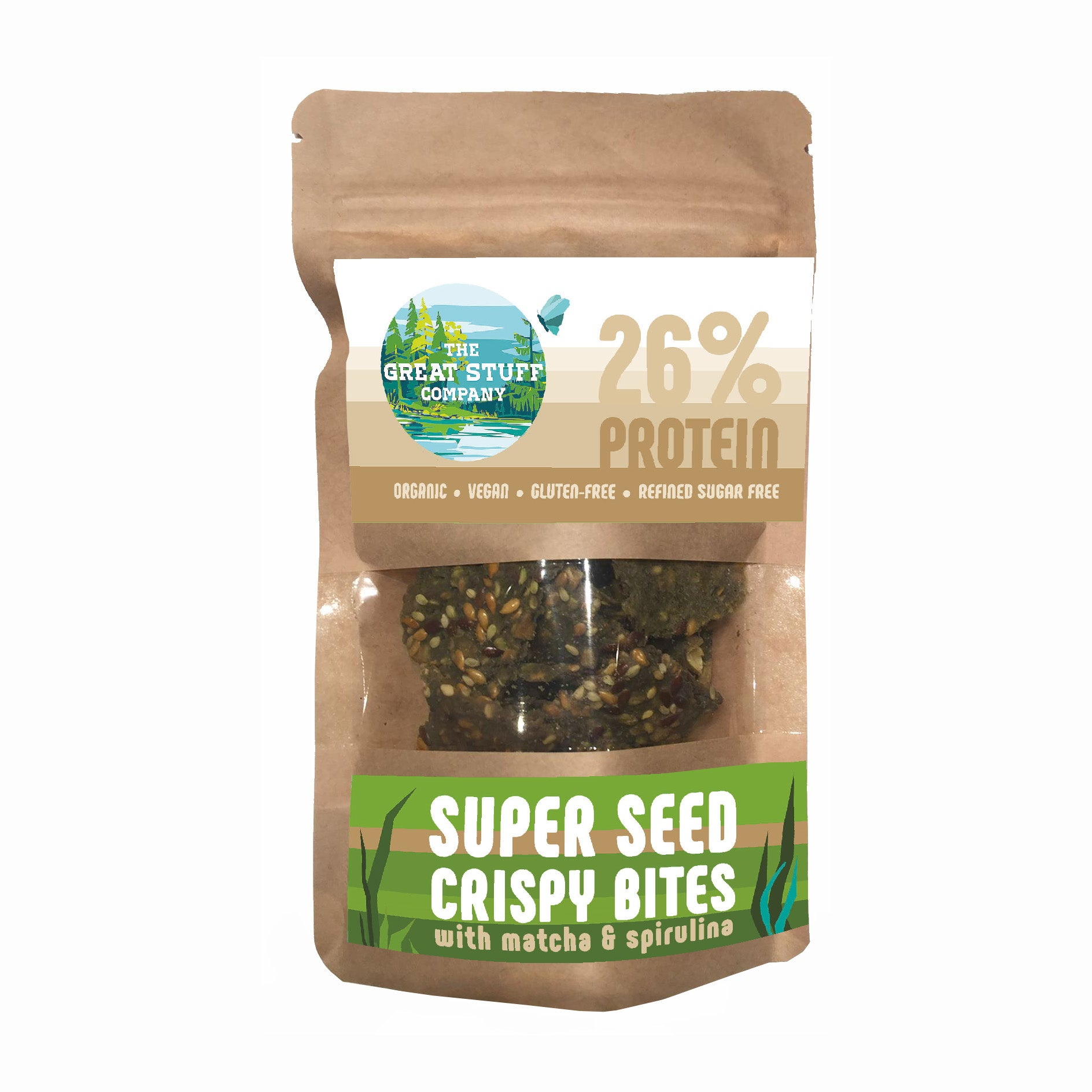 Super Seed Crispy Bites with Matcha & Spirulina - 10 bags - free shipping