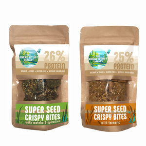 Super Seed Crispy Bites with Tumeric & Matcha/Spirulina - Mixed Box - 10 bags - free shipping