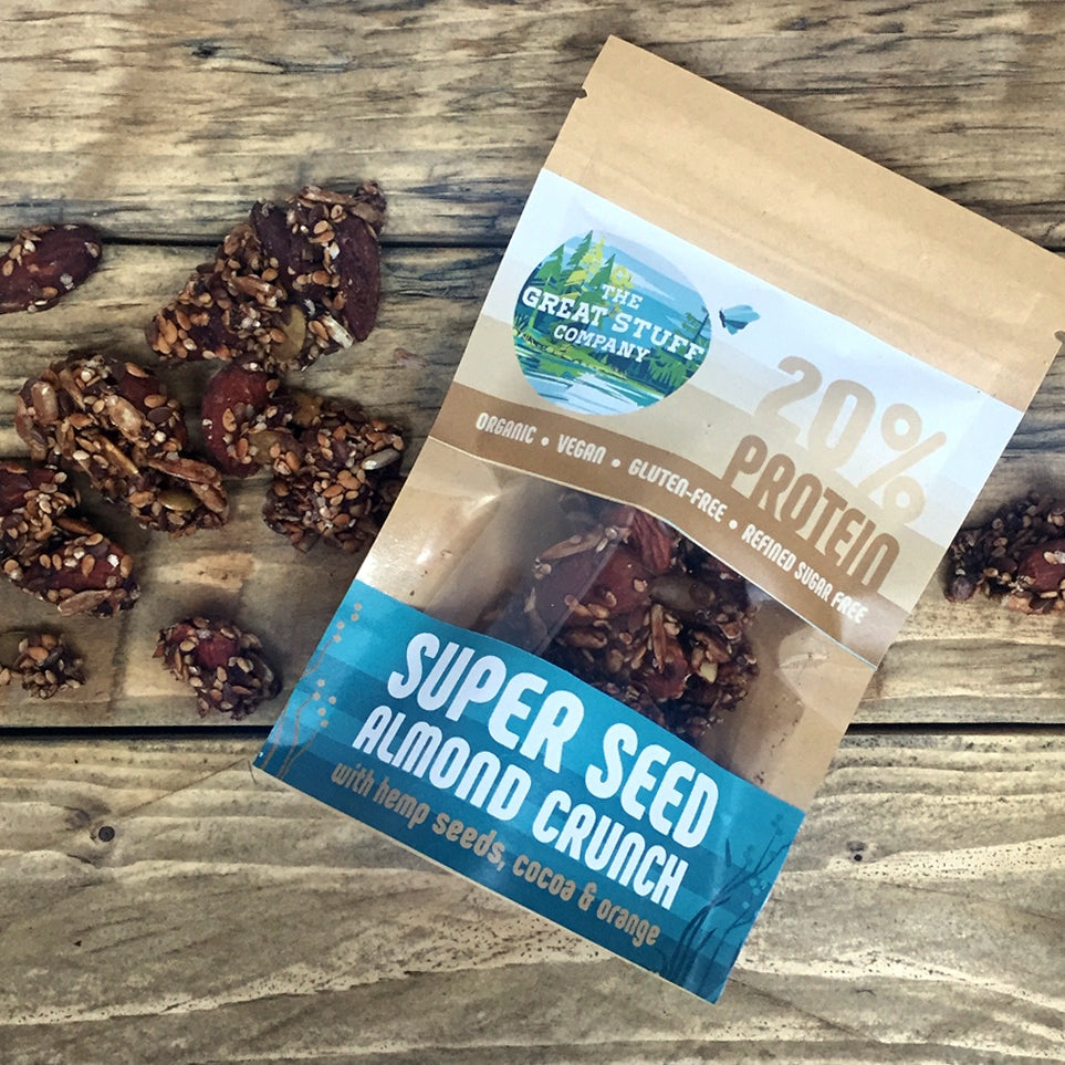Super Seed Almond Crunch with Hemp Seeds & Raw Cocoa and Orange Oil - 10 bags - free shipping