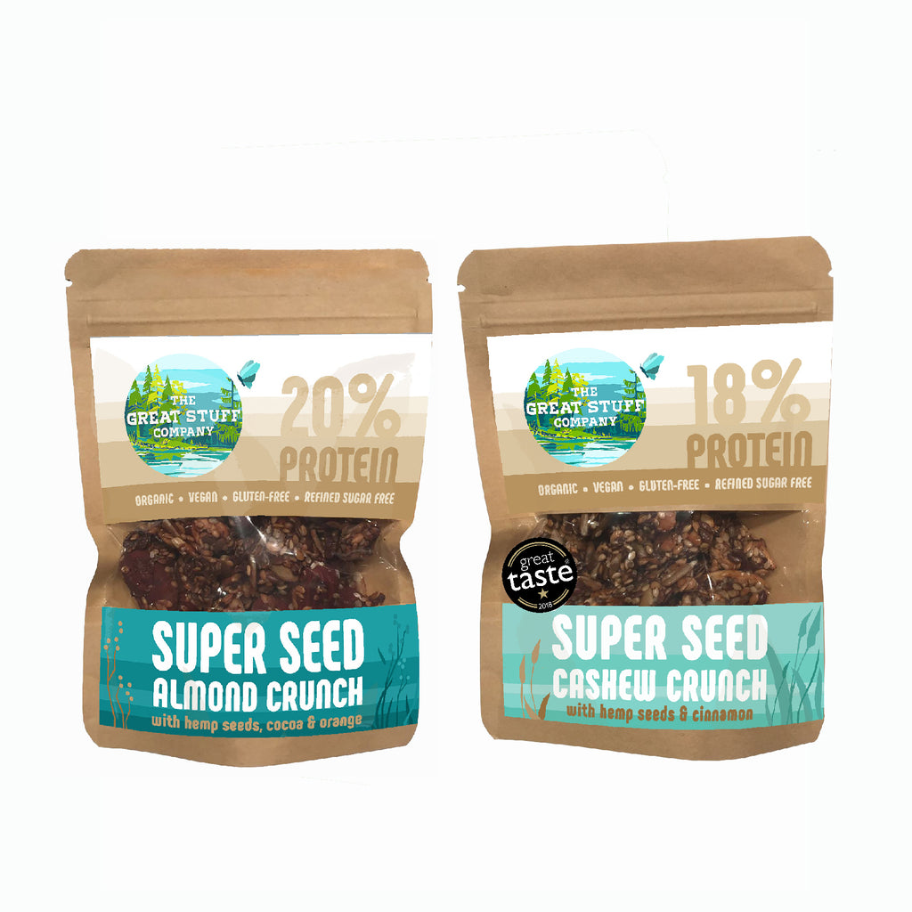 Super Seed Almond & Cashew Crunch - Mixed Box - 10 bags - free shipping
