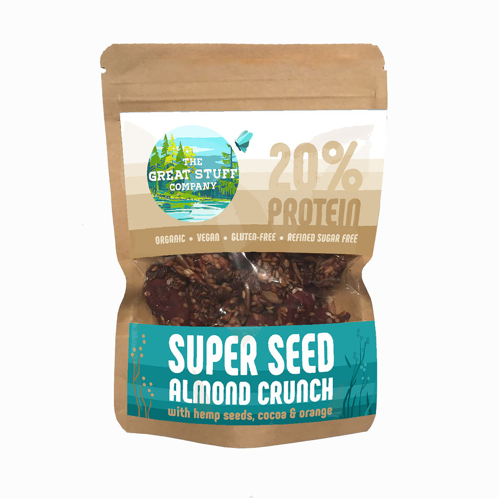 Super Seed Almond Crunch with Hemp Seeds & Raw Cocoa - 10 bags - free shipping