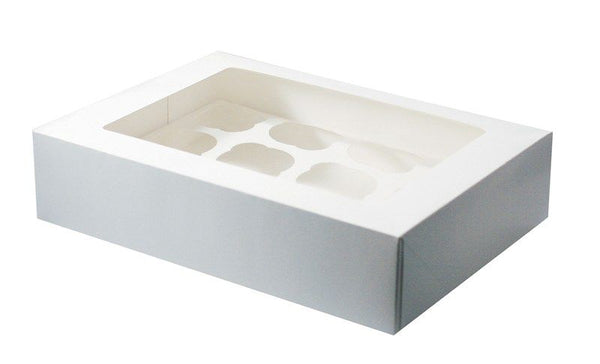 Cupcake Box White - 12 Holes