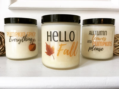 Fall Candle Set Autumn Candles Hello Fall Decor Fall Scented Candles Soy Candle Pumpkin Spice Candle Natural Candle Soy Wax Candle