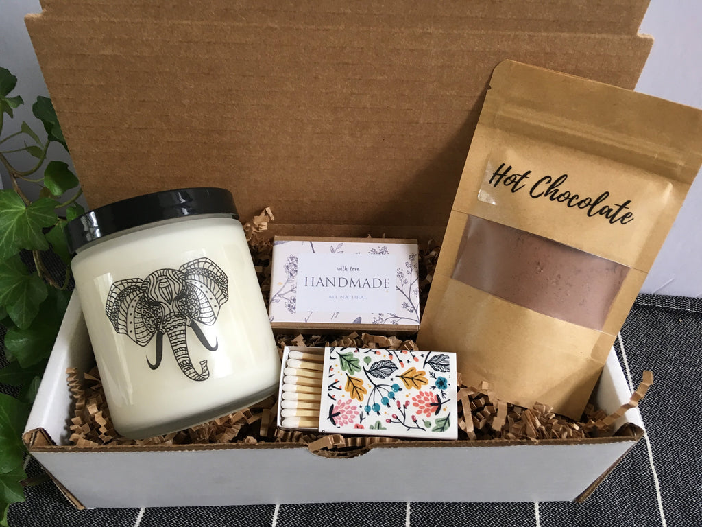 Boho Elephant Gift Set | Candle Gift | Boho Room Decor | Bohemian Gift | Elephant Decor | Unique Gift | Boho Gift Box |Trending