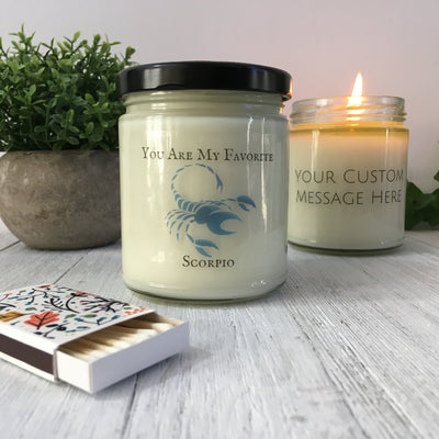Scorpio Gift -  Soy Candle - Personalized Zodiac Gift - Custom Message Candle