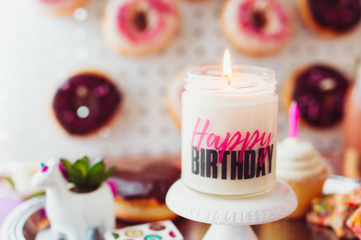 Soy Candle Gift | Happy Birthday Candle | Personalized Message | All-Natural | Handmade