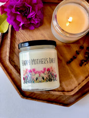 Happy Mother's Day | All-Natural Soy Candle | Unique Gift Ideas for Mom | Scented with Essential Oils and Natural Fragrance | Clean Burning