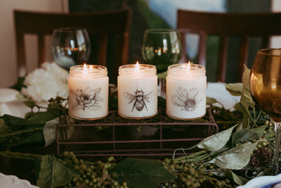 Spring Decor Candle Set - Soy Candles - Spring Table Decor  Natural Soy Candles