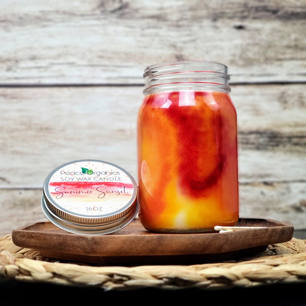 Watercolor Natural Soy Wax Candles - 16oz with Hemp Wick
