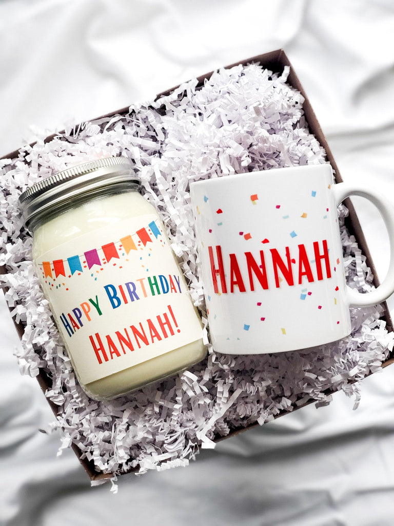 Happy Birthday Gift Box | 16 Oz All Natural Candle & Coffee Mug | Customized With Name