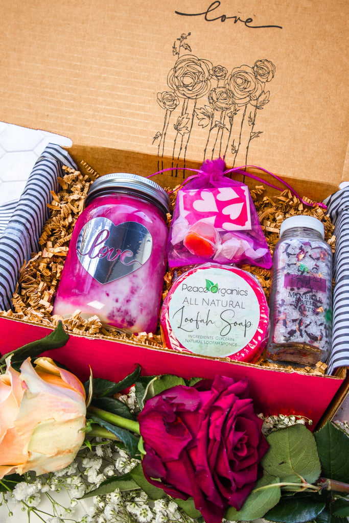 Valentines Day Gift Box with Soy Candle - Self Care Kit