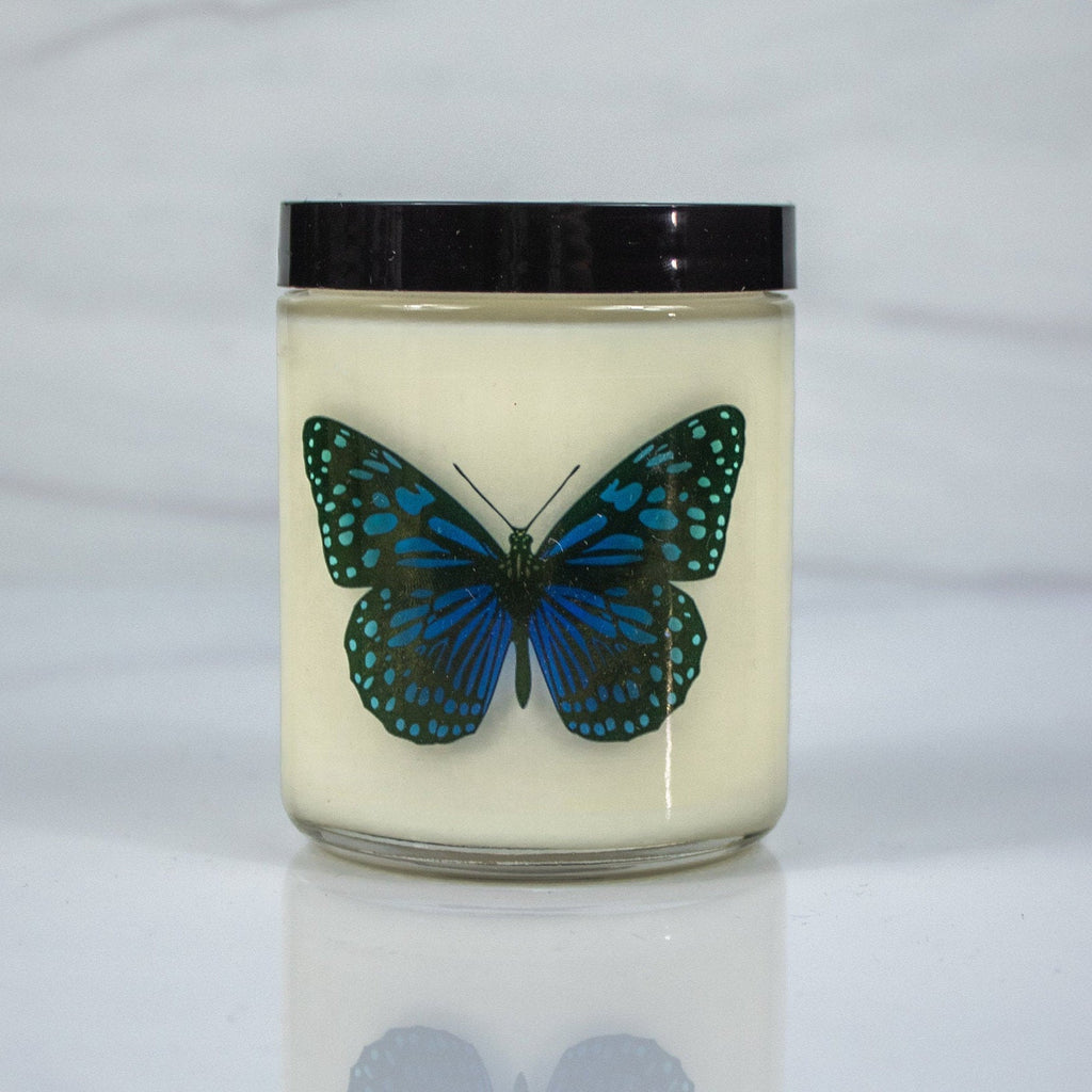 Blue Butterfly Candle with Personal Message on the Back