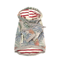 Bali the Dog Hoodie Jungle in grey melange, coolest palm print and a pocket in the back. Made from soft cotton, red stripes lining. Coolest dog clothes and dog gear from Bali the Dog!