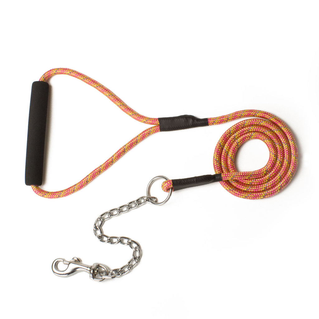 Bali the Dog Reflective Dog leash in mixed colors, yellow orange dog leash with reflective details