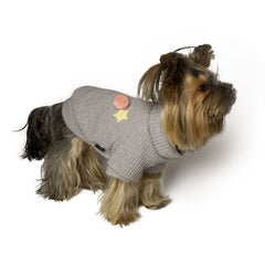 Bali the Dog dog sweater with soft fleece lining, cool and warm gray dog sweater