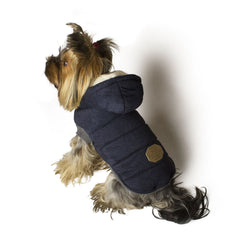 Bali the Dog winter jacket in navy, warm dog jacket with soft fleece lining and hoodie