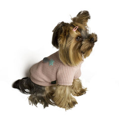 Bali the Dog dog sweater with soft fleece lining, cool and warm pink dog sweater