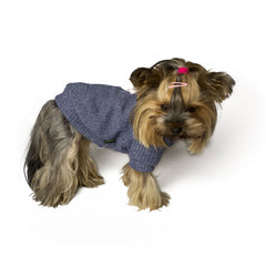 Bali the Dog dog sweater with soft fleece lining, cool and warm navy dog sweater