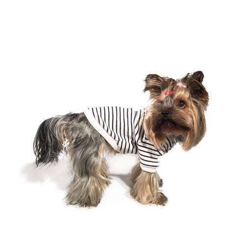 Bali the Dog Classic Sweatshirt in navy and white stripes, made from soft cotton. Classic Coco Chanel style. Coolest dog clothes and dog gear from Bali the Dog