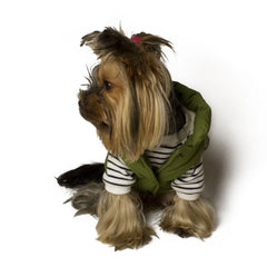Bali the Dog Classic winter jacket in olive green, soft fleece lining