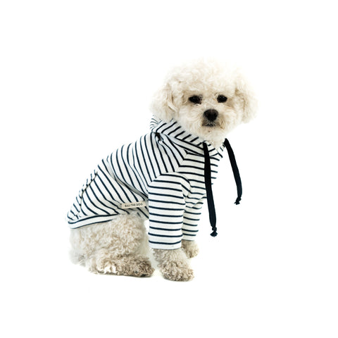 Bali the Dog Classic Hoodie in navy and white stripes, pocket in the back and made from soft cotton. Classic Coco Chanel style. Coolest dog clothes and dog gear from Bali the Dog