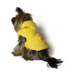 Bali the Dog Fluffy winter jacket in yellow, warm dog jacket with hoodie and pocket