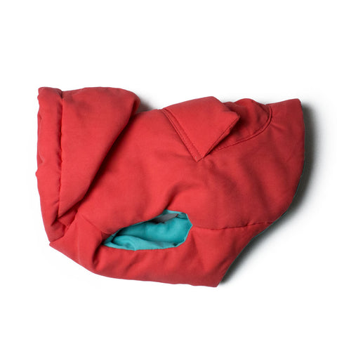 Bali the Dog Fluffy winter jacket in red, reversible warm dog jacket with hoodie and pocket