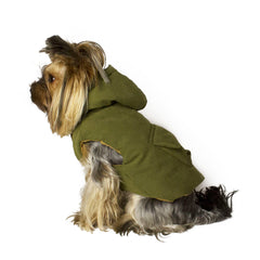 Bali the Dog Fluffy winter jacket in olive green, reversible warm dog jacket with hoodie and pocket