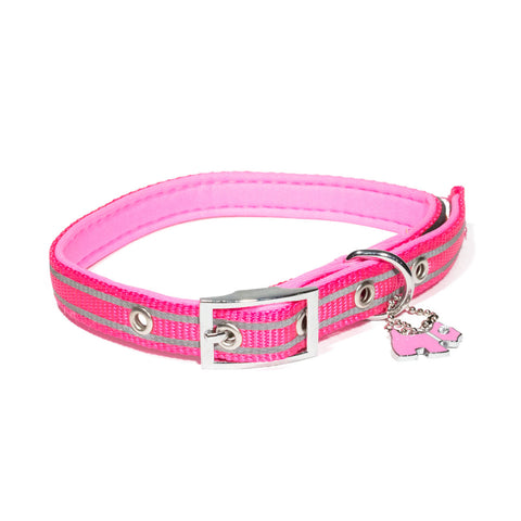 Bali the Dog Reflective Dog leash and dog collar in mixed colours, pink dog collar with reflective details