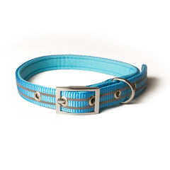 Light blue dog collar with reflective details from Bali the Dog, more styles online!