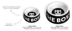 Bali the Dog ZeeDog Boss Bowl in Black, cool boss statement in black and white. Perfect for your dog!