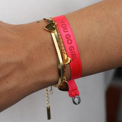 Bali the Dog Sorbet island You go girl satin bracelet. Lucky message bracelet. Ihana You Go Girl satiini rannekoru balithedog, täydellinen lahja.
