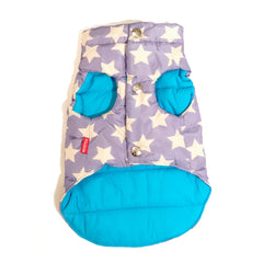 Bali the Dog Jacket with stars in light blue and white, reversible with happy turquoise lining, cutest dog jacket from balithedog