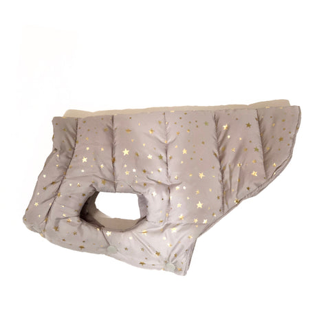 Bali the Dog Jacket with stars in grey and gold, reversible with classic grey lining, cutest dog jacket from balithedog