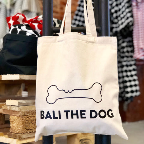 Bali the Dog eco friendly tote canvas bag, say no to plastic