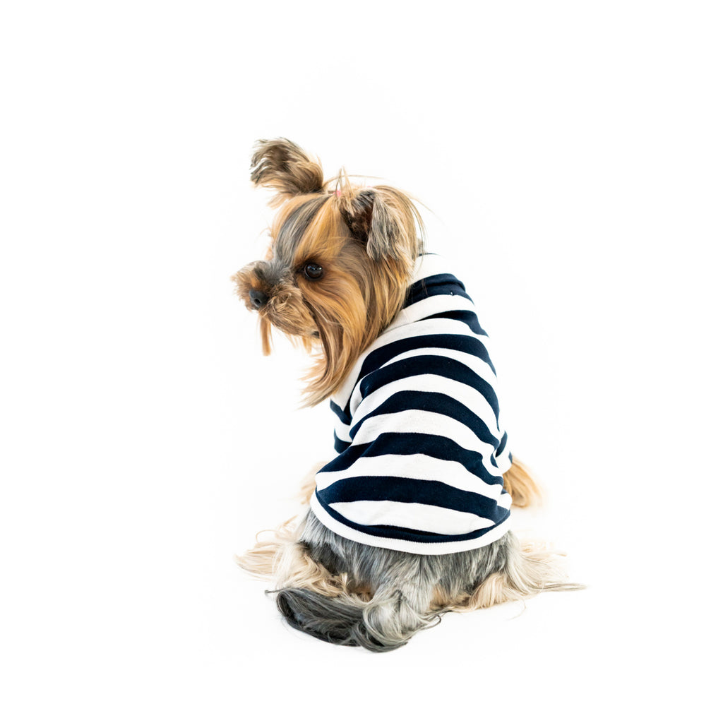 Bali the Dog Turtle T-shirt in classic navy stripes. Soft cotton t shirt, roll neck and Coco Chanel style. Coolest dog clothes and dog gear from Bali the Dog, for all dogs and dog owners!