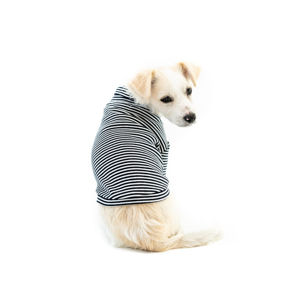 Bali the Dog Turtle T-shirt in classic navy slim stripes. Soft cotton t shirt, roll neck and coco chanel style. Coolest dog clothes and dog gear from Bali the Dog!