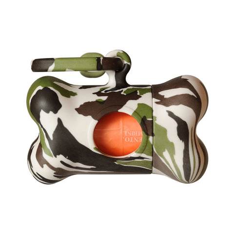 Bali the Dog Bon Ton Fantasy Camo poo waste bag dispenser. Fun and funky, clip it on to your dog leash or bag for your walks