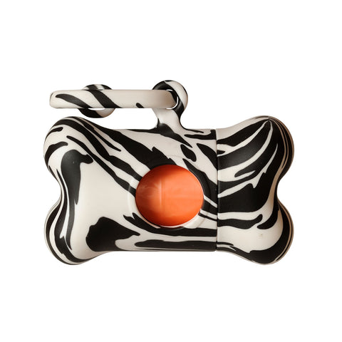 Bali the Dog Bon Ton Fantasy Zebra poo waste bag dispenser. Fun and funky, clip it on to your dog leash or bag for your walks