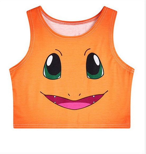 High Quality Cotton Charmander Crop Top