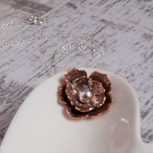 Rose Copper and Silver Flower Necklace