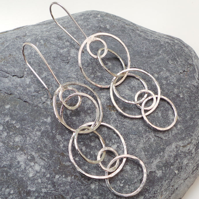 Long Statement Hammered Circle Drop Earrings