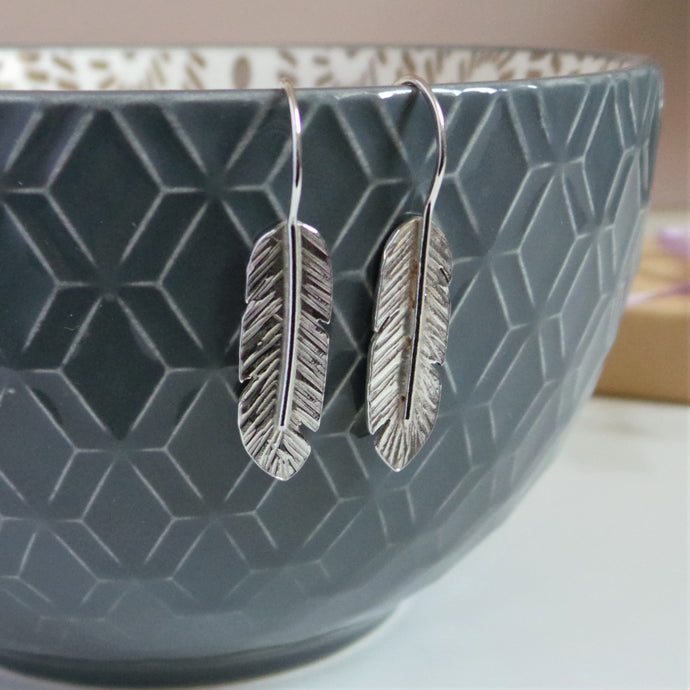 Feather Silver Drop Earrings