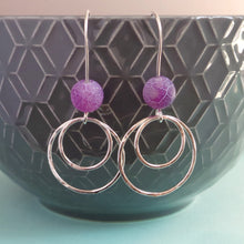 Crackly purple bead earrings