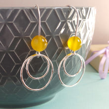 Yellow bead silver earrings