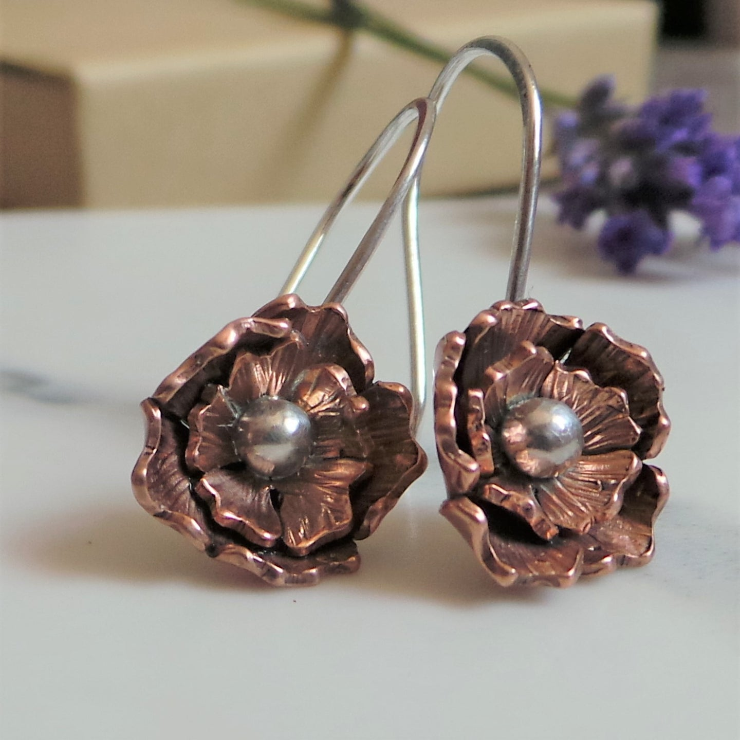 Rose Copper and Silver Flower Drop Earrings
