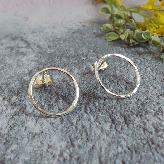 Rustic Circle Silver Studs