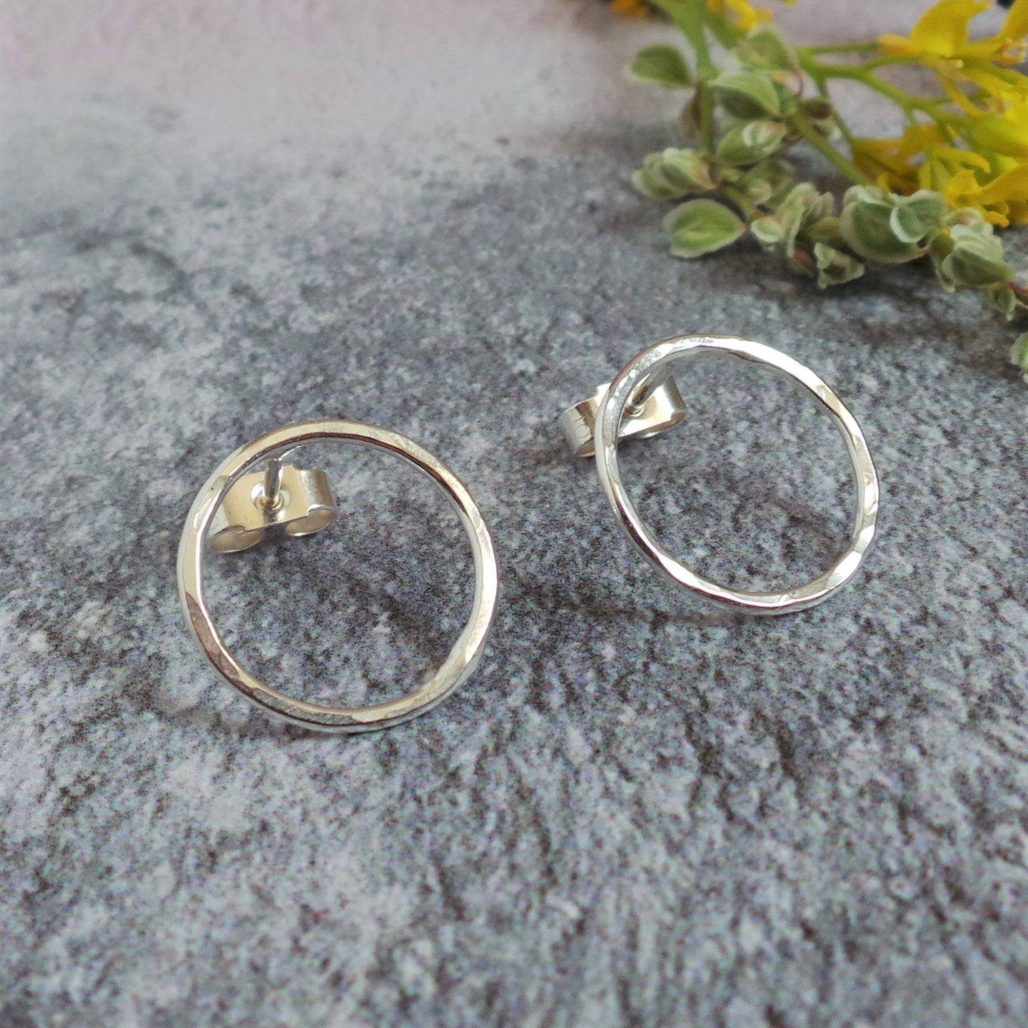 Hammered Rustic Circle Silver Studs