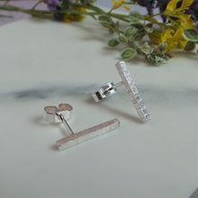 Hammered Line Silver Stud Earrings